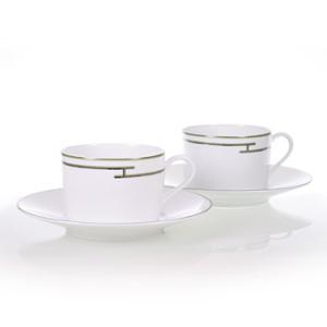 エルメス HERMES  リズムグリーン ペア ティー カップ&ソーサー Tea C/S (Cup and Saucer) 4316 結婚祝い 敬老の日 livingwell-de