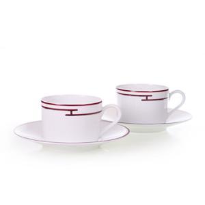 エルメス HERMES  リズムレッド ペア ティー カップ&ソーサー Tea C/S (Cup and Saucer) 4416 結婚祝い 敬老の日 livingwell-de