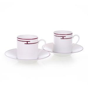 エルメス HERMES  リズムレッド ペア コーヒー カップ&ソーサー Coffee C/S (Cup and Saucer) 4417|livingwell-de