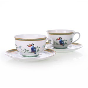 エルメス HERMES  トゥーカン トゥカン ペア ティー カップ&ソーサー Tea C/S (Cup and Saucer) 0316 結婚祝い 敬老の日|livingwell-de