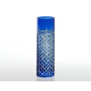 《名入れグラス》代引不可 送料無料 新築御祝 カガミクリスタル 江戸切子 花瓶 F654-1844-CCB  【レリーフ・エッチング】|livingwell-de