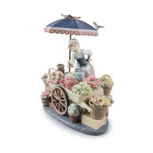 Lladro (リヤドロ) 少女 女性 花 お花 ハナ 鳥 とり トリ 動物「公園通りの花屋さん #1454」|lladro-daisuki