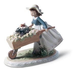 Lladro (リヤドロ) イヌ 犬 いぬ 動物 少女 子供 女性 花 お花「乗せてあげる #5460」|lladro-daisuki