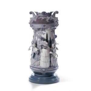 Lladro (リヤドロ) 花瓶 ベース リデコ 女性     「淑女の庭(花瓶・グレー・RE-DECO) #7033」|lladro-daisuki