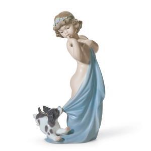 Lladro (リヤドロ) 少女 女の子 子供 ヌード 犬 いぬ イヌ 動物 「いたずらしないで #8106」|lladro-daisuki