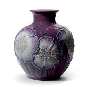 Lladro (リヤドロ) 花瓶 ベース ひなげし 雛罌粟 ヒナゲシ    「花瓶・ポピー(パープル) #8621」|lladro-daisuki