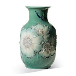 Lladro (リヤドロ) 花瓶 ベース ひなげし 雛罌粟 ヒナゲシ    「花瓶・ポピー(グリーン高) #8648」|lladro-daisuki
