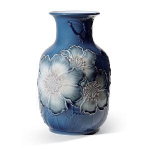 Lladro (リヤドロ) 花瓶 ベース ひなげし 雛罌粟 ヒナゲシ    「花瓶・ポピー(ブルー高) #8649」|lladro-daisuki