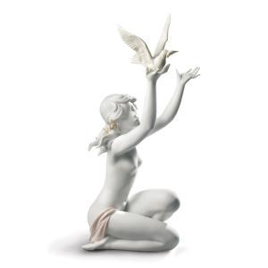 Lladro (リヤドロ) 女性 少女 ヌード 鳩 はと ハト 鳥 動物 「平和を求めて(グレス) #8799」|lladro-daisuki