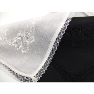 ハンカチ レディース フォーマル 白 黒 花刺繍 ゆり レース 無地 冠婚葬祭 結婚式 ウエディングドレス 婦人 メール便の画像