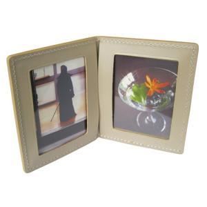 本革 ミニフォトフレーム 2面 小さい コンパクト おしゃれ 写真フレーム プレゼント ギフト名入れ対象商品  Lino L99|lobshop