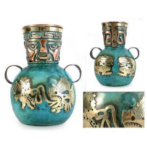 ペルー 青銅・銅 フラワーベース インカの漁師 花器 花瓶 古代インカ帝国 マチュ ピチュ アルパカ|local-tokitoki