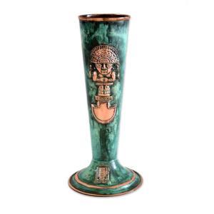 ペルー 青銅 ・ 銅 フラワー ベース 大王 花器 花瓶 古代インカ帝国 マチュ ピチュ アルパカ ナスカ 地上絵 遺跡|local-tokitoki