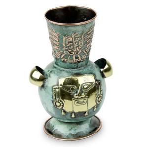 ペルー 青銅 ・ 銅 フラワー ベース 戦士 花器 花瓶 古代インカ帝国 マチュ ピチュ アルパカ ナスカ 地上絵 遺跡|local-tokitoki