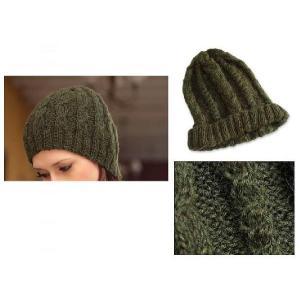 ペルーアルパカ100%WOOL帽子/ニット帽 オリーブ ミリタリー色 グリーン ニット レディース メンズ 防寒 対策 雪 防止 保温性 古代インカ帝国 マチュ ピチュ|local-tokitoki