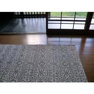 ヨーロピアン レトロ クラシック 132×189 約 1.5畳 ラグ ベルギー製 フラットループ 洗える ラグマット 北欧 カーペット 絨毯 薄型 ウィルトン織 ベージュ|local-tokitoki