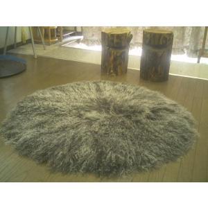 【2色展開】ゴートファーラグ(山羊毛皮) ウール シャギー長毛円形約100cm|local-tokitoki