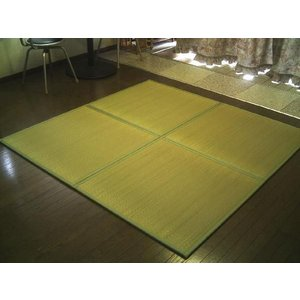 軽量/日本の癒しとくつろぎ/やさしい緑色グリーン。ユニット畳 4枚セット(2畳分相当)約82×82×1.3cm:防音対策・置き畳・床キズ防止。 節電|local-tokitoki