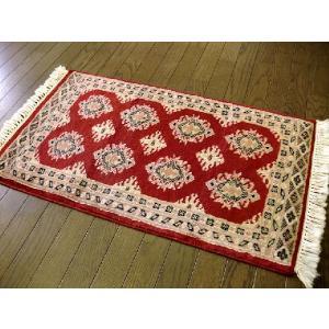 美しいレッド■パキスタン絨毯■79×46■玄関マットサイズ|local-tokitoki