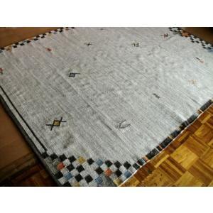 トラッドなギャッベ模様 キリム 房付 200×200 約 2畳 WOOL ラグ カーペット マット 絨毯 インテリア ラグマット ウール|local-tokitoki