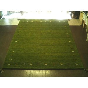 WOOL ウール 全厚最大20mm 緑芝生草色 インド手織りギャッベ 200×250 約 3畳 ラグ マット ギャベ ギャッベ ラグマット 厚手 北欧 夏 カーペット 絨毯|local-tokitoki