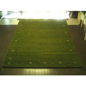 ※先行予約11月上旬予定:WOOL100%全厚20mm【緑芝生草色】インド手織りギャッベ160×230約3畳ギャベ♯2|local-tokitoki