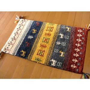WOOL 100%全厚20mm【レッドチェック】インド手織り ギャッベ 45×75 / ギャベ 玄関マット 室内|local-tokitoki