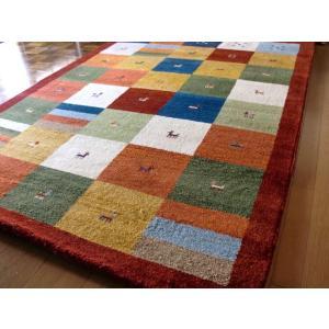 WOOL 100%全厚最大20mm レッドチェック インド手織りギャッベ 200×200 約 2畳 ギャベ ギャッベ ラグマット 厚手 北欧 夏 カーペット 絨毯|local-tokitoki