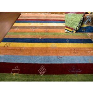 WOOL100%房付インド手織りギャッベ200×250約3畳/ギャベ全厚12mmスムースカッティング仕上げ客間|local-tokitoki