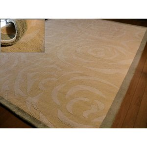 本場インド綿◆フラワー柄◆手織カーペット200×250約3畳/さらさらコットン 天然素材 薄山吹色 室内|local-tokitoki