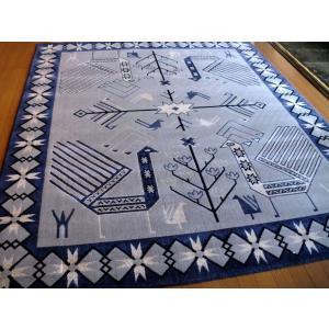 ポップなギャッベ柄 国産 ウィルトン織絨毯 200×240 約 3畳 日本 ラグマット 厚手 北欧 夏 カーペット|local-tokitoki