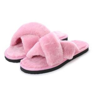 SFW サンエープラスフェミニン AAA+ feminine クロスベルトムートンサンダル (ピンク)|locondo-shopping