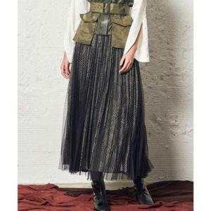 アウラアイラ AULA AILA チュールレイヤード プリーツスカート (ブラック)