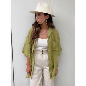エゴイスト EGOIST シアー開襟半袖シャツ (GREEN)|ブランド公式 LOCOMALL ロコモール
