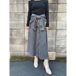 エゴイスト EGOIST シャツライクデニムロングスカート (BLACK)|ブランド公式 LOCOMALL ロコモール