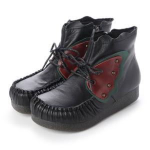 ヒナグリーンレーベル Hina GreenLabel バタフライデザインモカシンショートブーツ (ブラック) ブランド公式 LOCOMALL ロコモール