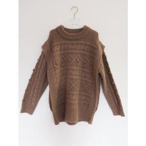 cable over knit top (brown)|ブランド公式 LOCOMALL ロコモール