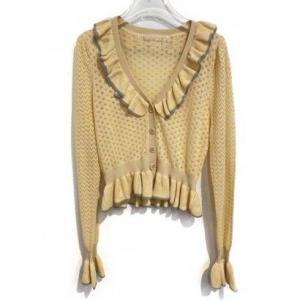crochet frill cardigan (yellow)|ブランド公式 LOCOMALL ロコモール