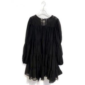 chiffon tiered one-piece (black)|ブランド公式 LOCOMALL ロコモール