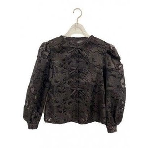 jacquard organdie ribbon blouse (black)|ブランド公式 LOCOMALL ロコモール