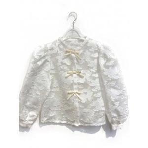jacquard organdie ribbon blouse (white)|ブランド公式 LOCOMALL ロコモール