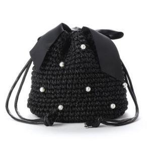 ジジ トラヴァイユ JiJi travail パール付きリボン巾着バッグ (ブラック) ブランド公式 LOCOMALL ロコモール