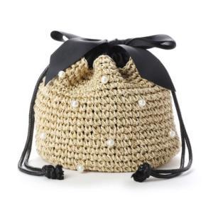 ジジ トラヴァイユ JiJi travail パール付きリボン巾着バッグ (ベージュ) ブランド公式 LOCOMALL ロコモール