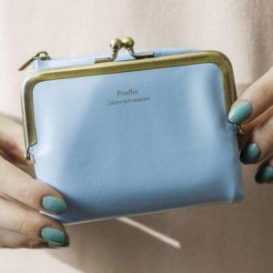 クラソ Kraso がま口とL字ファスナーが魅力 しあわせそらいろの手のり財布 (ブルー)|ブランド公式 LOCOMALL ロコモール
