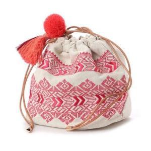 カカトゥ kakatoo エンブロイダリー巾着バッグ (レッド)|ブランド公式 LOCOMALL ロコモール