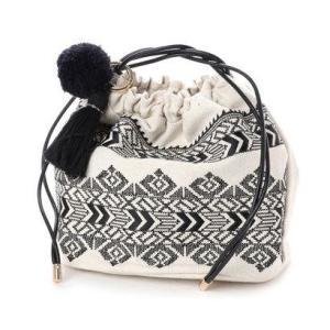 カカトゥ kakatoo エンブロイダリー巾着バッグ (ブラック)|ブランド公式 LOCOMALL ロコモール