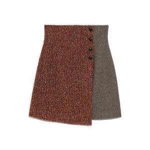リリーブラウン Lily Brown ツイードチェック台形スカート (レッド)