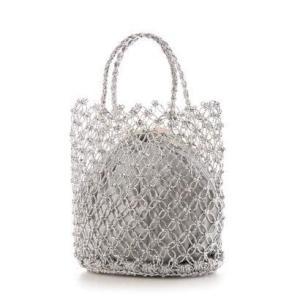 ミアン MIAN 巾着付き透かし編みトートバッグ (シルバー) ブランド公式 LOCOMALL ロコモール