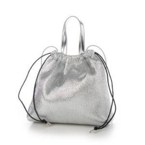ミアン MIAN メタリックプリーツ2wayバッグ (シルバー) ブランド公式 LOCOMALL ロコモール