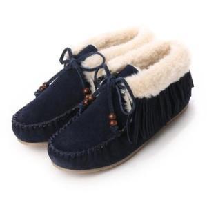 ミネトンカ Minnetonka mi-fringe-slipper-bootie-40018 (NAVY)